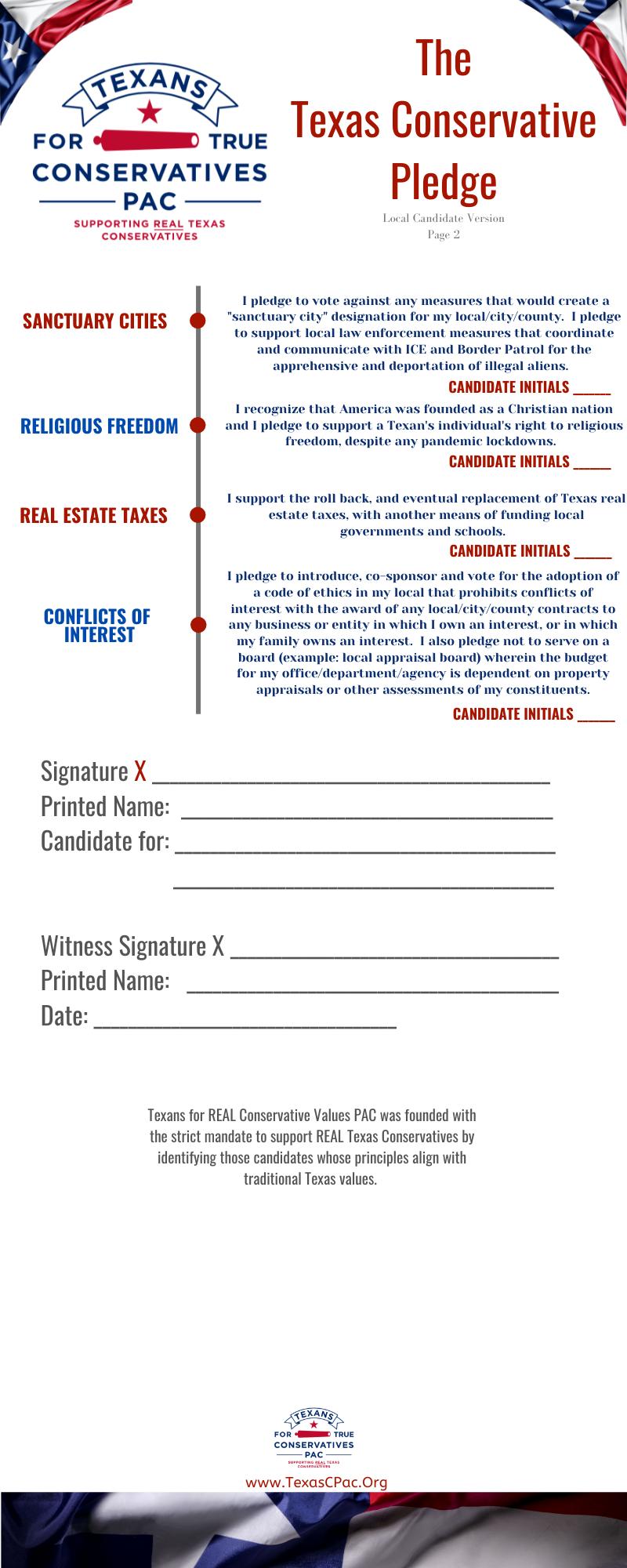 Local Government Candidate Pledge 2